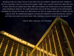 SHERIFF ADKINSON, PRESIDENT OF FSA, RELEASES STATEMENT REGARDING LAS VEGAS SHOOTING