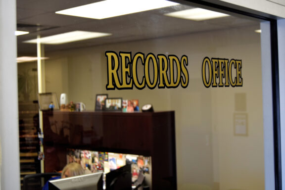 glass wall of the walton county sheriff's records office