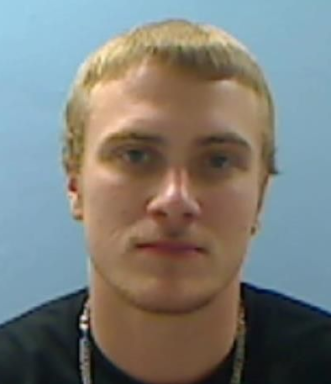 Dylan Mancill mugshot, white male with blonde hair and blue eyes.
