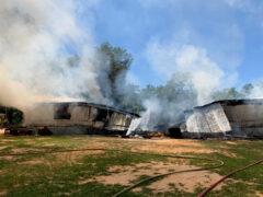 WALTON COUNTY FIRE RESCUE BATTLES A BLAZE IN BRUCE