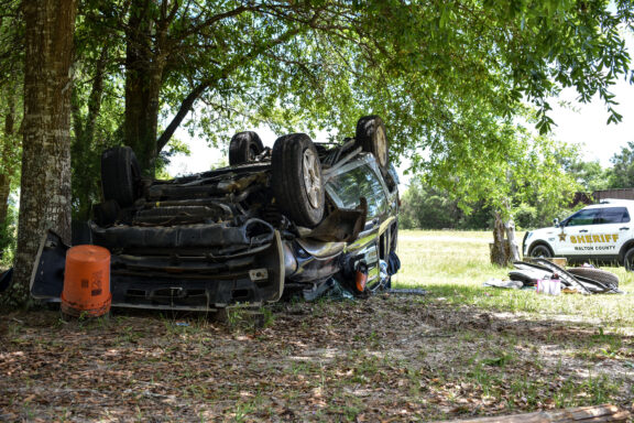 The scene of a rollover crash following a pursuit on April 26th off of Highway 90