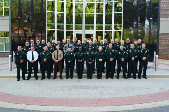 FSA Commanders Academy Graduates pose for a photo outside Florida Sheriffs Association in Tallahassee