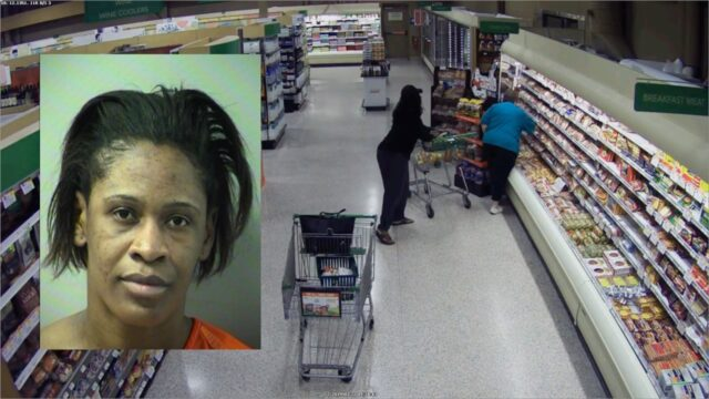A mug shot of Kabriesha Goosby superimposed over surveillance video of the theft.