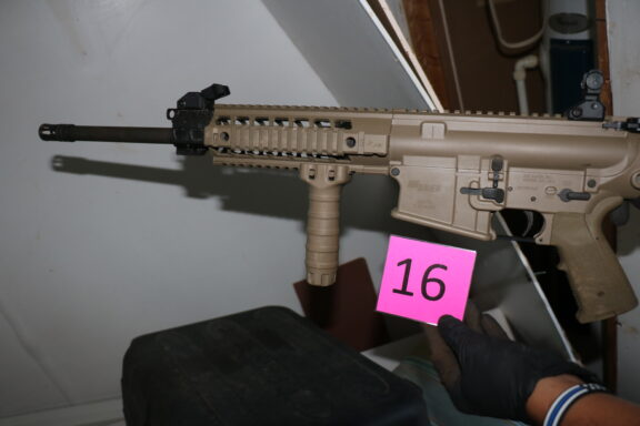 A photo of an AR-10, one of the weapons recovered during a search warrant Monday night.