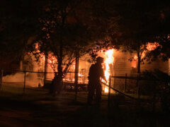 WALTON COUNTY FIRE RESCUE BATTLES HEAVY BLAZE  IN FREEPORT
