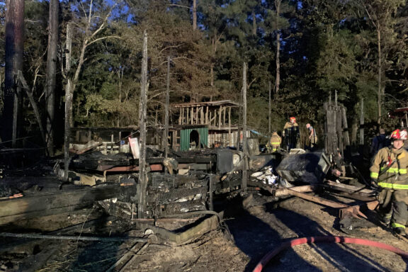 Firefighters on Scene of Burned Down Mobile Home in Freeport
