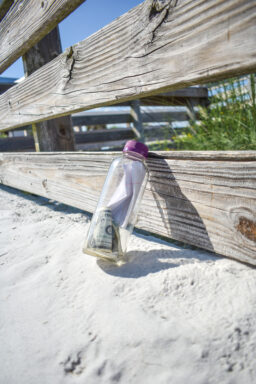 The bottle propped against the fence on a public beach access.