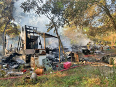 FIRE BREAKS OUT IN A MOBILE HOME IN BRUCE; FIREFIGHTERS KNOCK DOWN FLAMES
