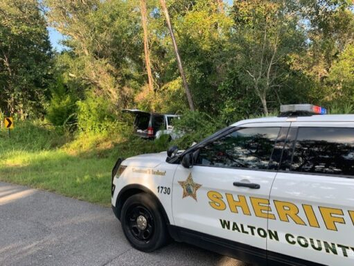 The vehicle Carter and Dale drove into the woods during a pursuit in Choctaw Beach.