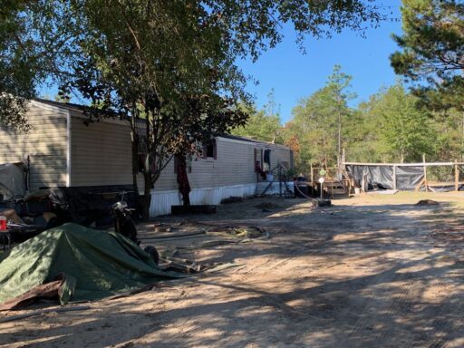 The scene of a house fire on Smith Road in DeFuniak Springs