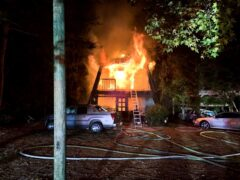 FIRE BREAKS OUT IN THREE-STORY HOME IN DEFUNIAK SPRINGS; FIREFIGHTERS RUSH TO KNOCK DOWN FLAMES