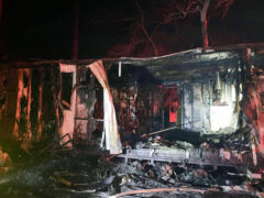 WALTON COUNTY FIRE RESCUE FIREFIGHTERS KNOCK DOWN FLAMES CONSUMING MOBILE HOME