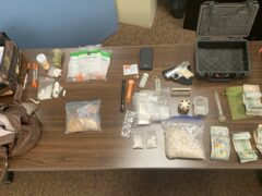 Table of evidence collected following traffic stop.