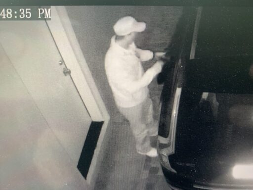 Suspect on surveillance video burglarizing a car parked in an open garage in Inlet Beach.