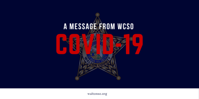 """Dark blue graphic that says """"A Message From WCSO COVID-19"""""""