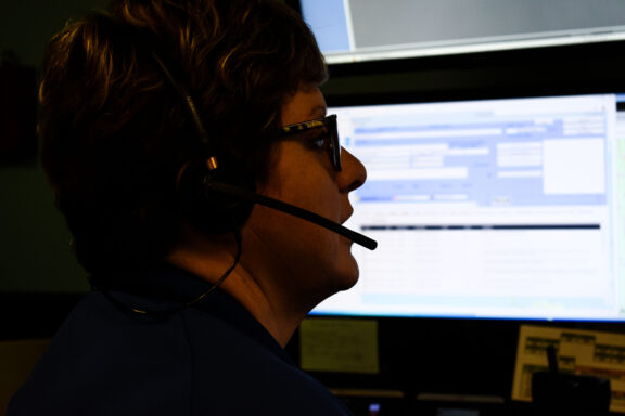 Silhouette of a 911 dispatcher