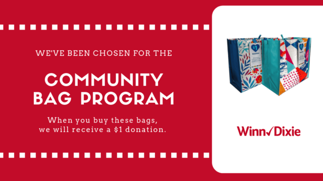 "Photo of reusable bags with the words ""Community Bag Program"""