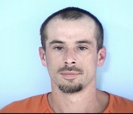 Mug shot of a pale white male with short brown hair and a brown goatee