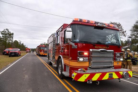 fire trucks lining the street