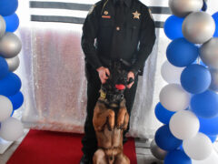 Deputy and K-9 posing in front of a Thin Blue Line flag