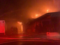 FIRE BREAKS OUT AT DEFUNIAK SPRINGS DRY CLEANER; FIREFIGHTERS RUSH TO BATTLE THE BLAZE