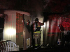 WALTON COUNTY FIRE RESCUE BATTLES MOBILE HOME FIRE IN CHOCTAW BEACH